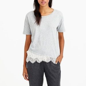 J.Crew Gray Lace Trimmed Cotton Tee Shirt